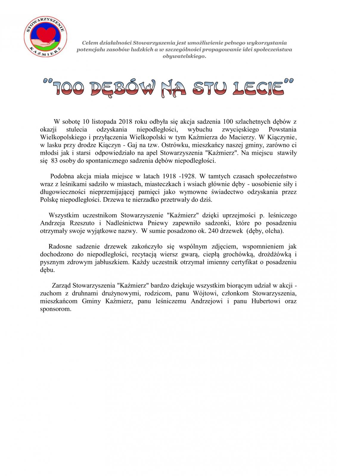 100 Dębów Na Stulecie Aktualności Gmina Kaźmierz